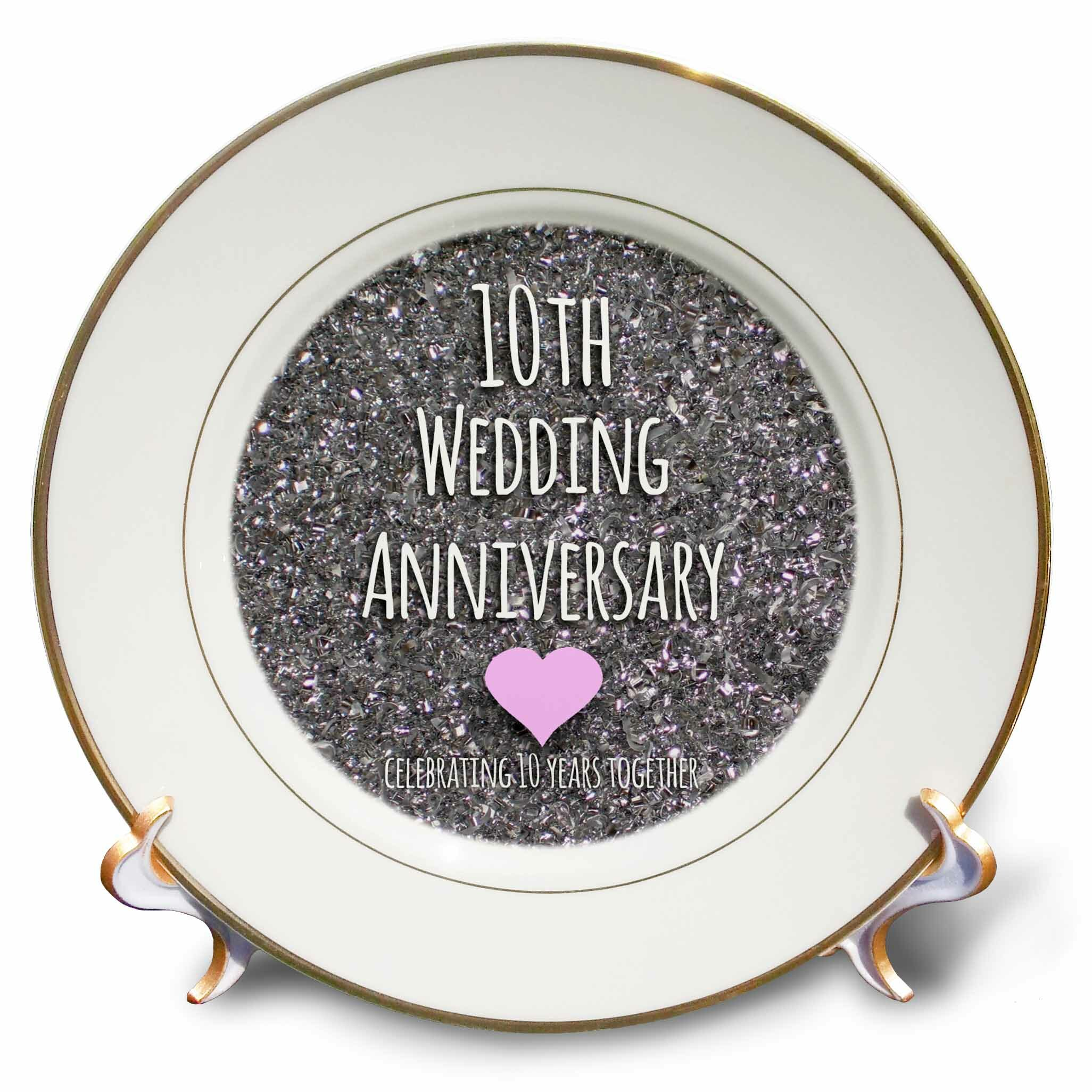 East Urban Home 10th Wedding Anniversary Gift Tin Bits Photo Celebrating 10 Years Together Tenth Anniversaries Porcelain Decorative Plate Wayfair