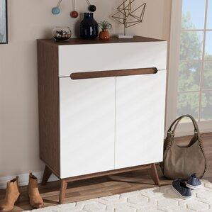 Mid Century Walnut Shoe Storage Cabinet