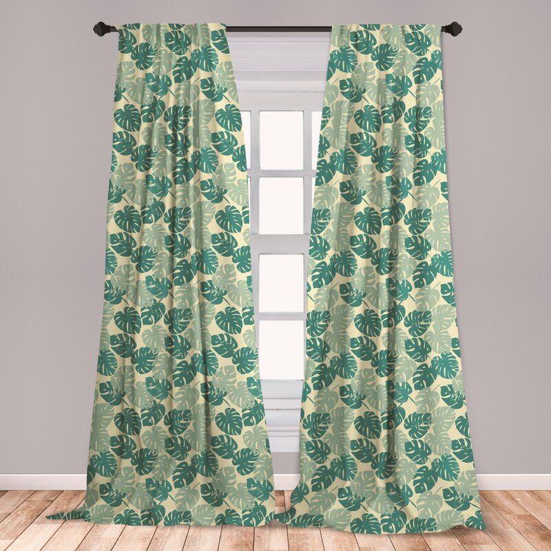 East Urban Home Monstera Leaves Floral Room Darkening Rod Pocket Curtain Panels Wayfair