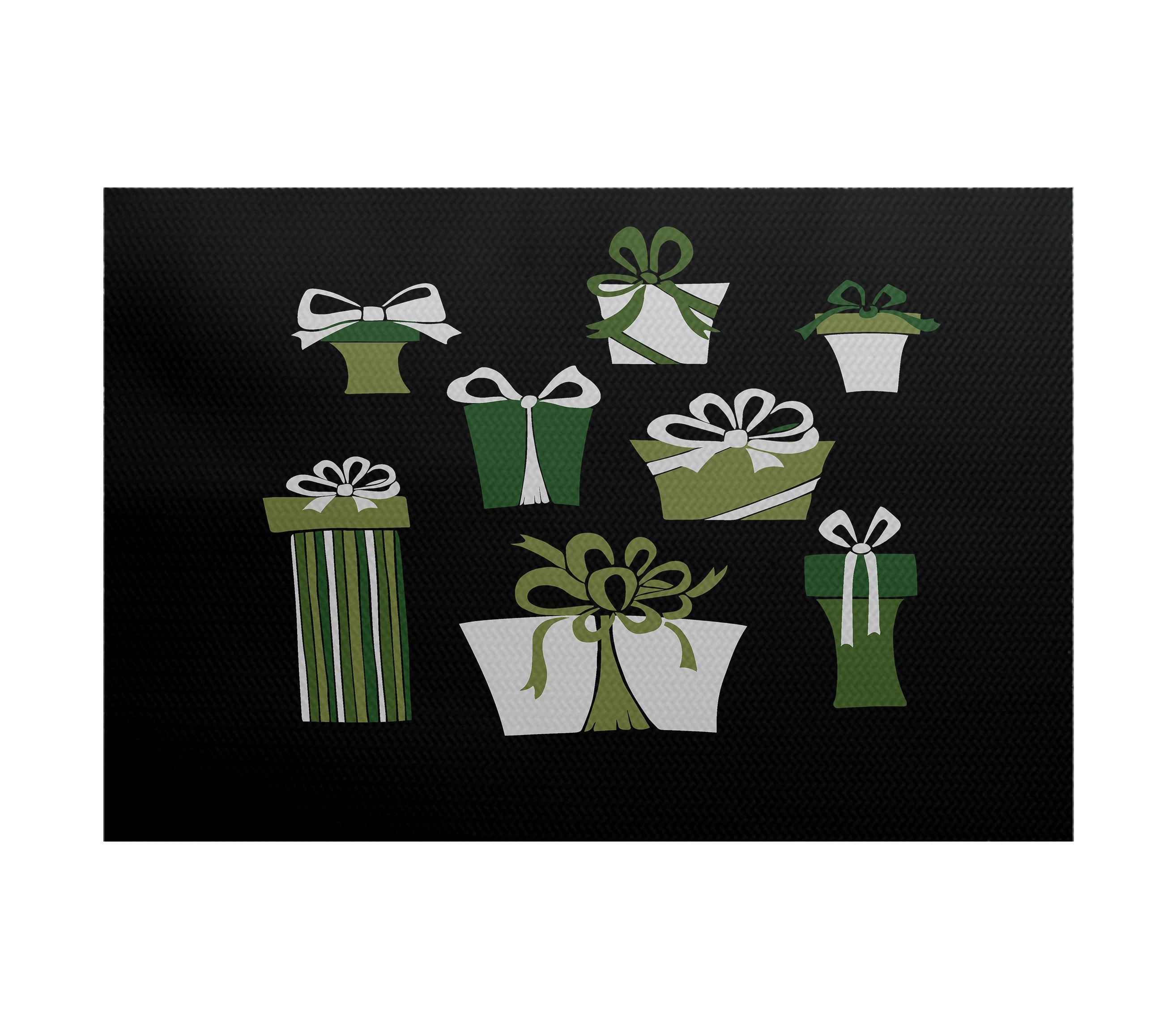 The Holiday Aisle Present Time Flatweave Black Green Rug Wayfair
