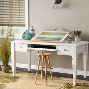 Veda Solid Wood Writing Desk by Beachcrest Home Great price