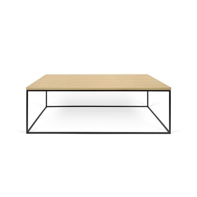 Brayden Studio Soltane Coffee Table Table Top Color: Wild Oak, Table Base Color: Black Lacquered Steel