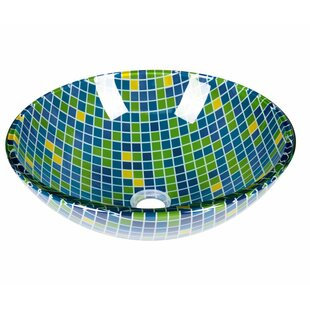 Best Reviews Mosaic Glass Circular Vessel Bathroom Sink ByJano Sanitary