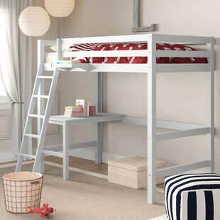 Annuziata Twin Study Loft Bed with Hanging Nightstand by