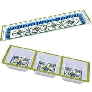 Anacapri 2 Piece Appetizer Melamine Platter Set