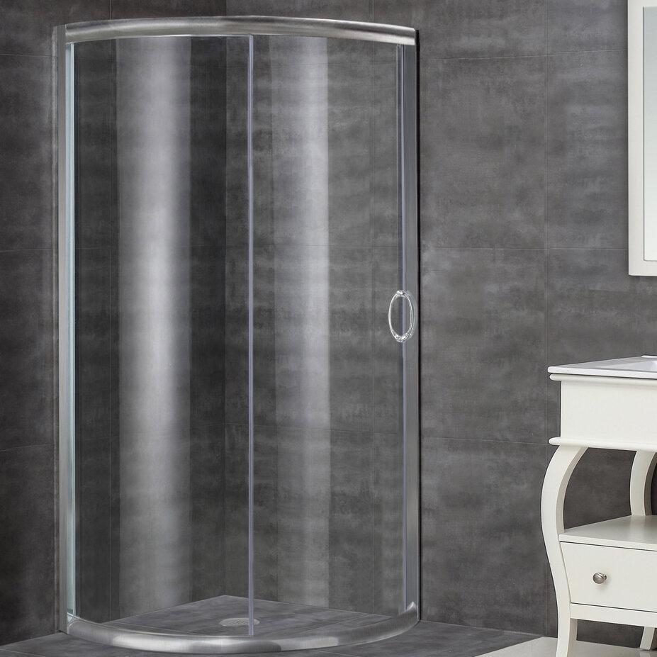 Aston 35 X 75 Single Sliding Semi Frameless Shower Door Wayfair