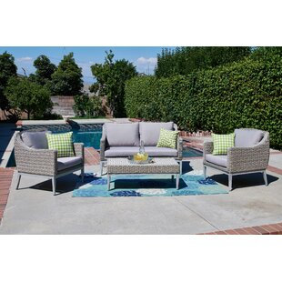 Lyndell 4 Piece Rattan Sofa Seating Group with Cushions