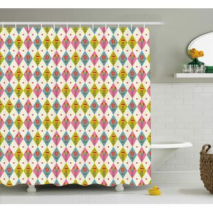 Inverness Geometric Tulips Pattern Shower Curtain + Hooks