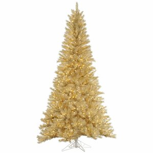 65 whitegold tinsel christmas tree with 450 led clear dura lit lights - Gold Christmas Tree