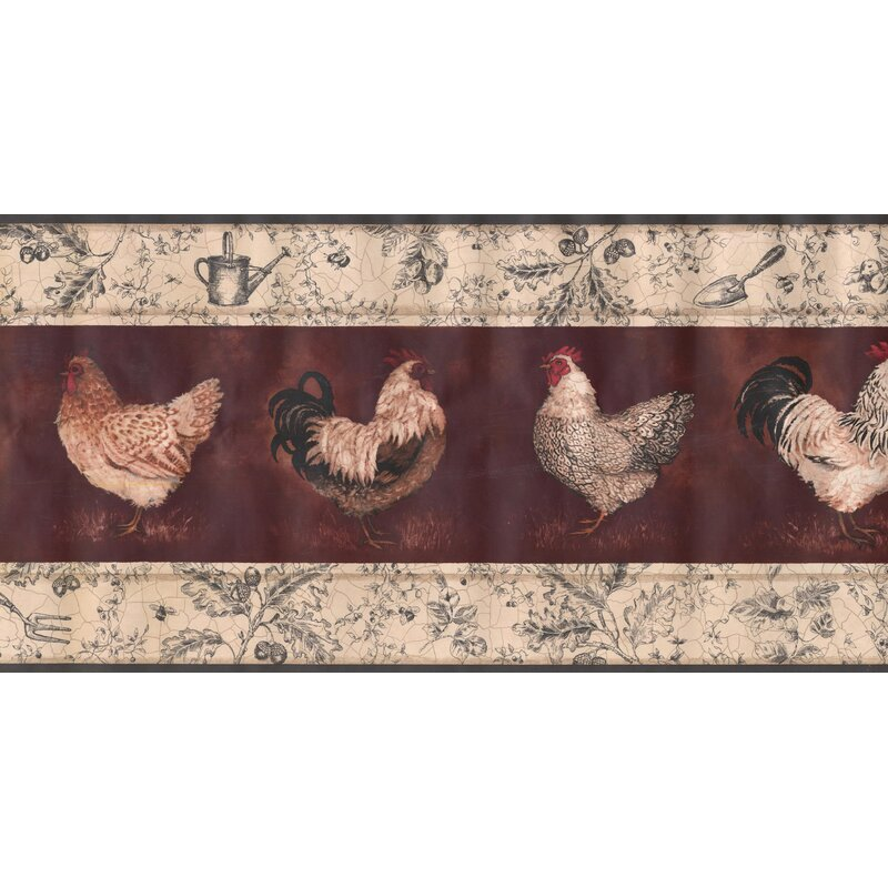 York Wallcoverings Rooster Hen Wine 15