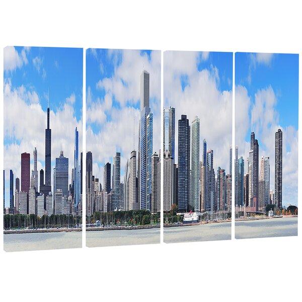 Designart Chicago City Urban Skyline 4 Piece Photographic Print On Wrapped Canvas Set Wayfair