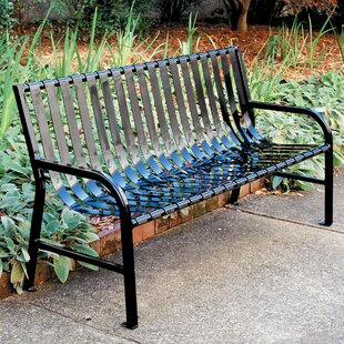 Outdoor Slatted Metal Bench