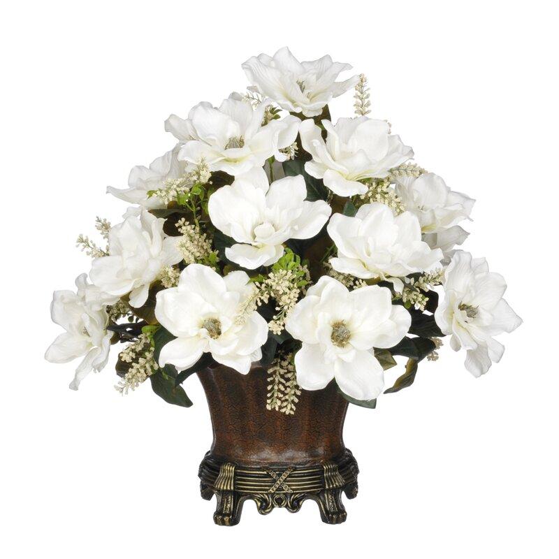House Of Silk Flowers Magnolia Centerpiece In Decorative Vase