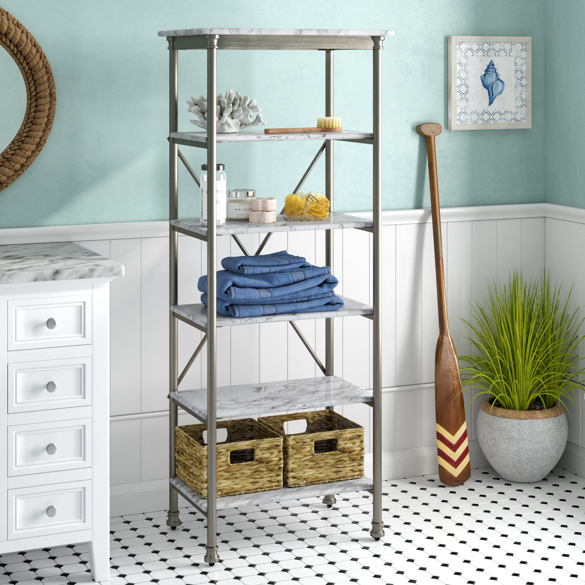 Beachcrest Home Nathaniel 24 W X 60 H Bathroom Shelf
