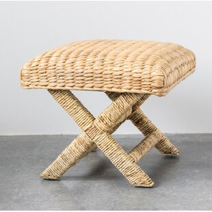 Kehlani Wood and Woven Water Hyacinth Accent Stool by Bay Isle Home