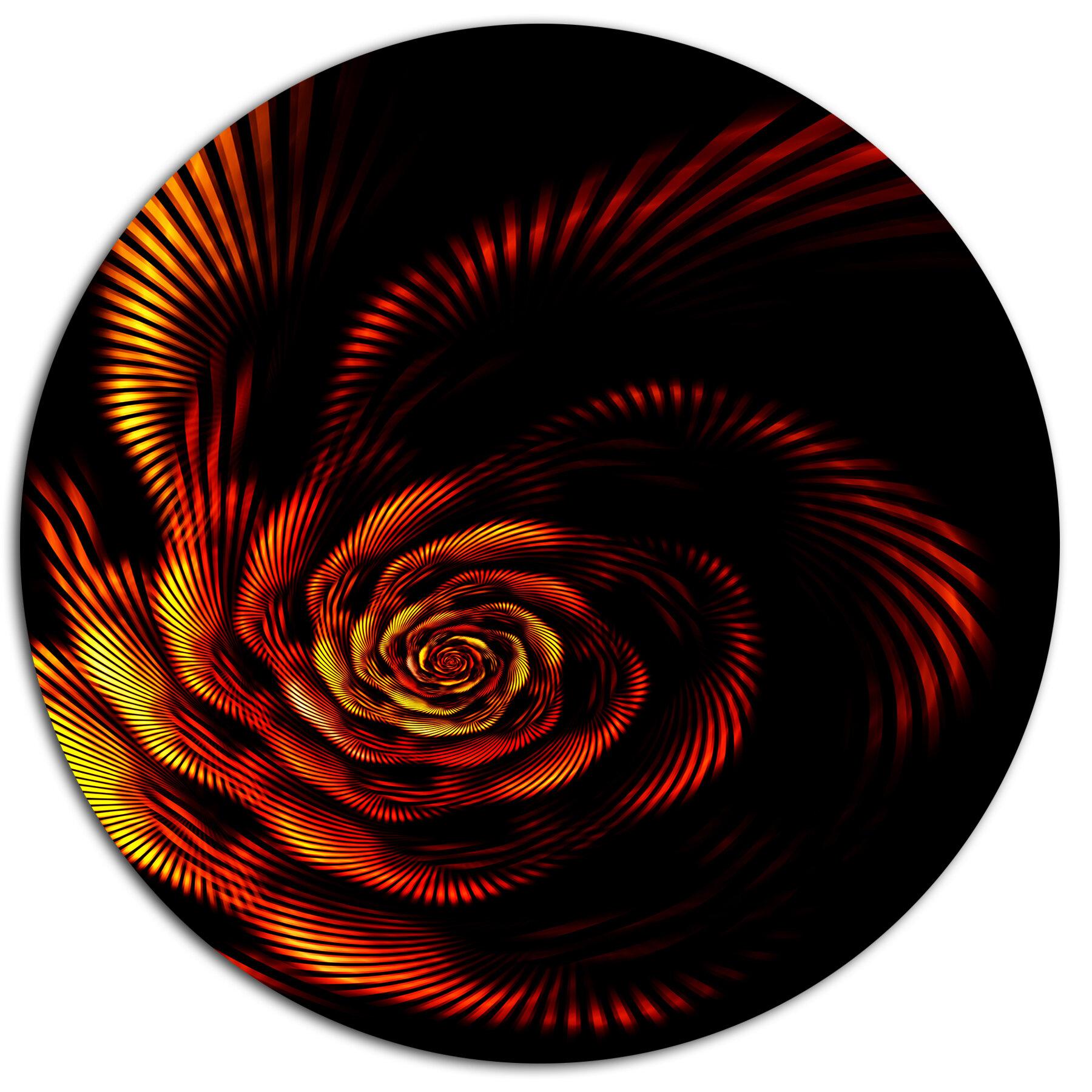Designart Fiery Rose Fractal Flower Of Passion Graphic Art Print On Metal Wayfair