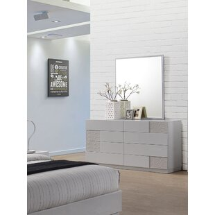 Lyset 8 Drawer Double Dresser with Mirror
