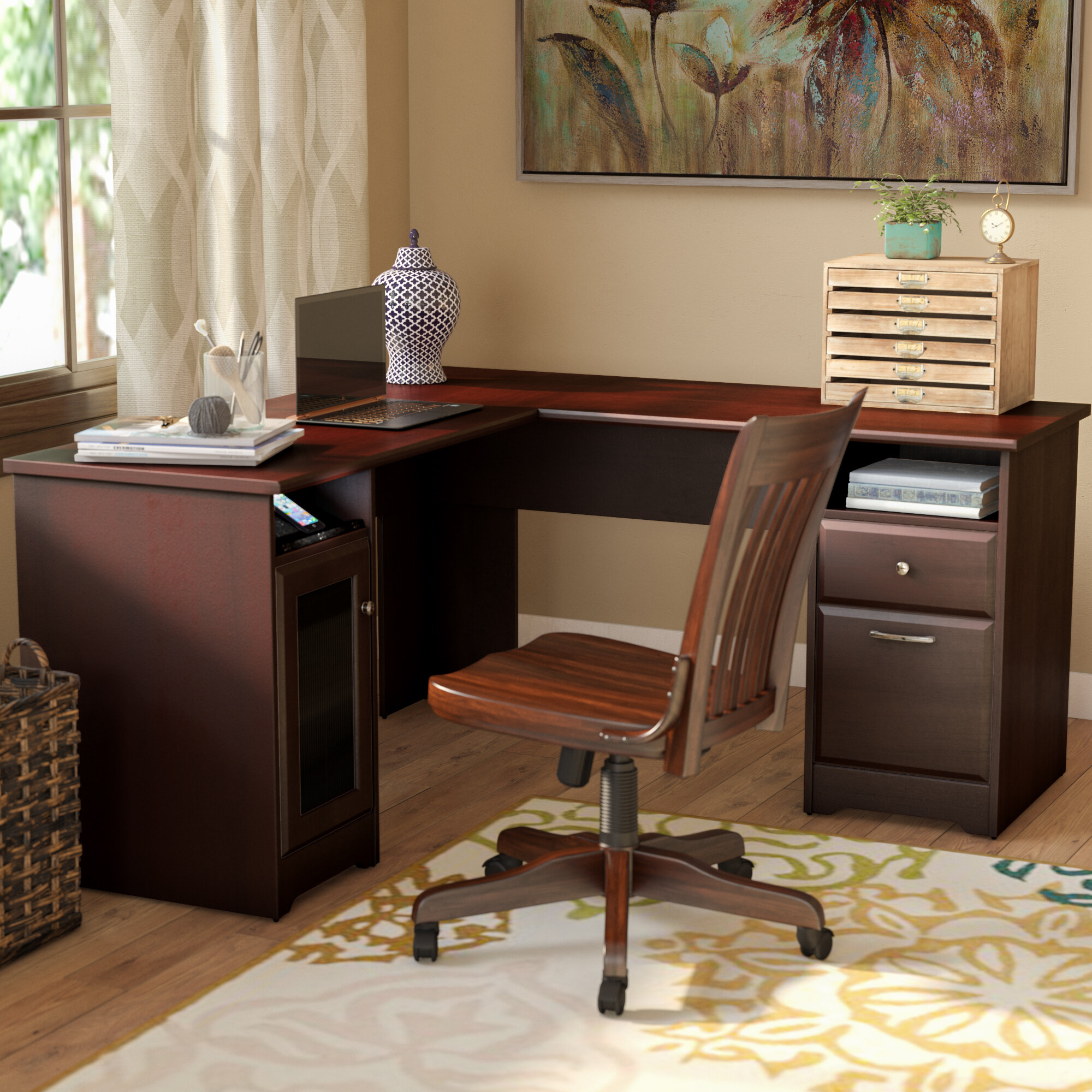 Brilliant Solid Oak Roll Top Desk Wayfair Interior Design Ideas Clesiryabchikinfo