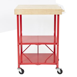 Kitchen Cart with Wood Top by Origami