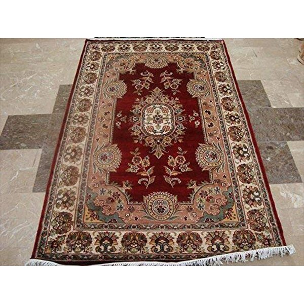 Charlton Home Oriental Hand Knotted Wool Silk Red Area Rug Wayfair