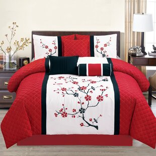 Sakura Embroidered Comforter Set by Elight Home