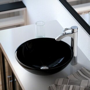 Glass Circular Vessel Bathroom Sink with Faucet ByMR Direct