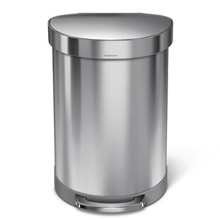 60 Liter Semi-Round Step Brushed Stainless Steel Trash Can