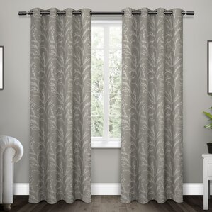Baillons Nature/Floral Blackout Thermal Grommet Curtain Panels (Set of 2)