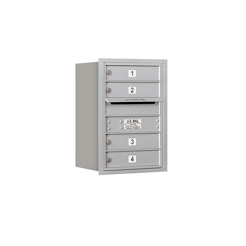 Salsbury Industries Recessed Usps 5 Door Rear Load 4c Horizontal Multi Unit Mailbox With 1 Parcel Locker Wayfair