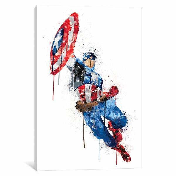 Avengers Watercolor: ICanvas 'Avengers Assemble Captain America Watercolor' By