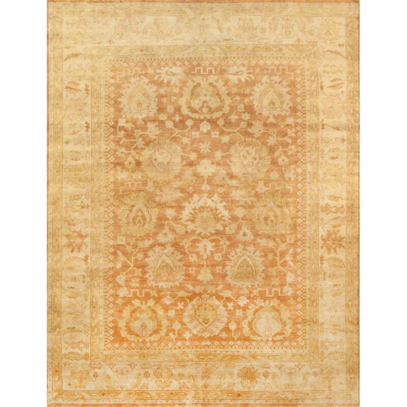 Pasargad Oushak Floral Hand Knotted Wool Coral Area Rug Wayfair