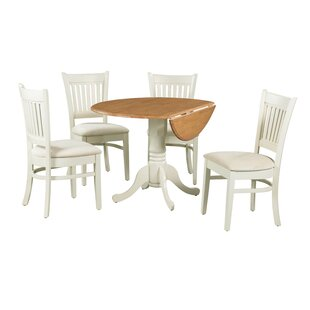 Ansonia 5 Piece Drop Leaf Solid Wood Dining Set