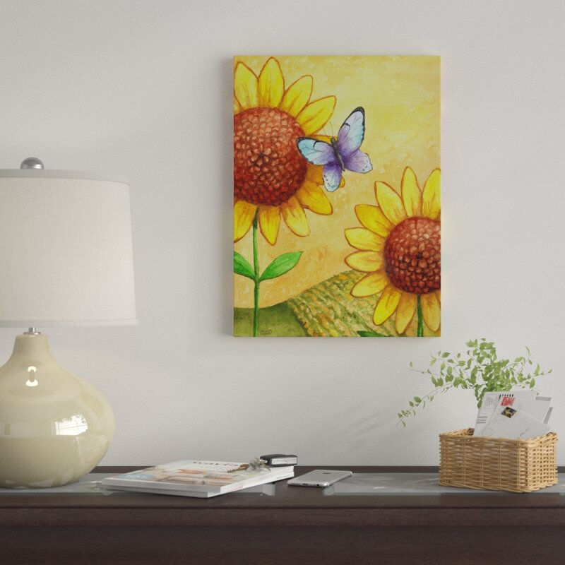 bda5ea065d61e Winston Porter 'Sunflower and Butterfly' Graphic Art Print on Wrapped Canvas  | Wayfair