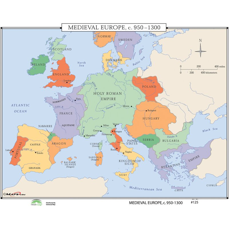 Universal Map World History Wall Maps Medieval Europe Wayfair Ca