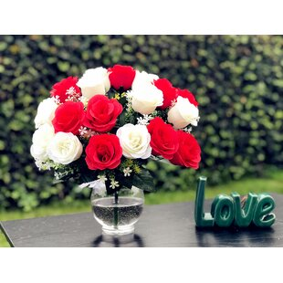White rose arrangement wayfair artificial red and white rose floral arrangement mightylinksfo