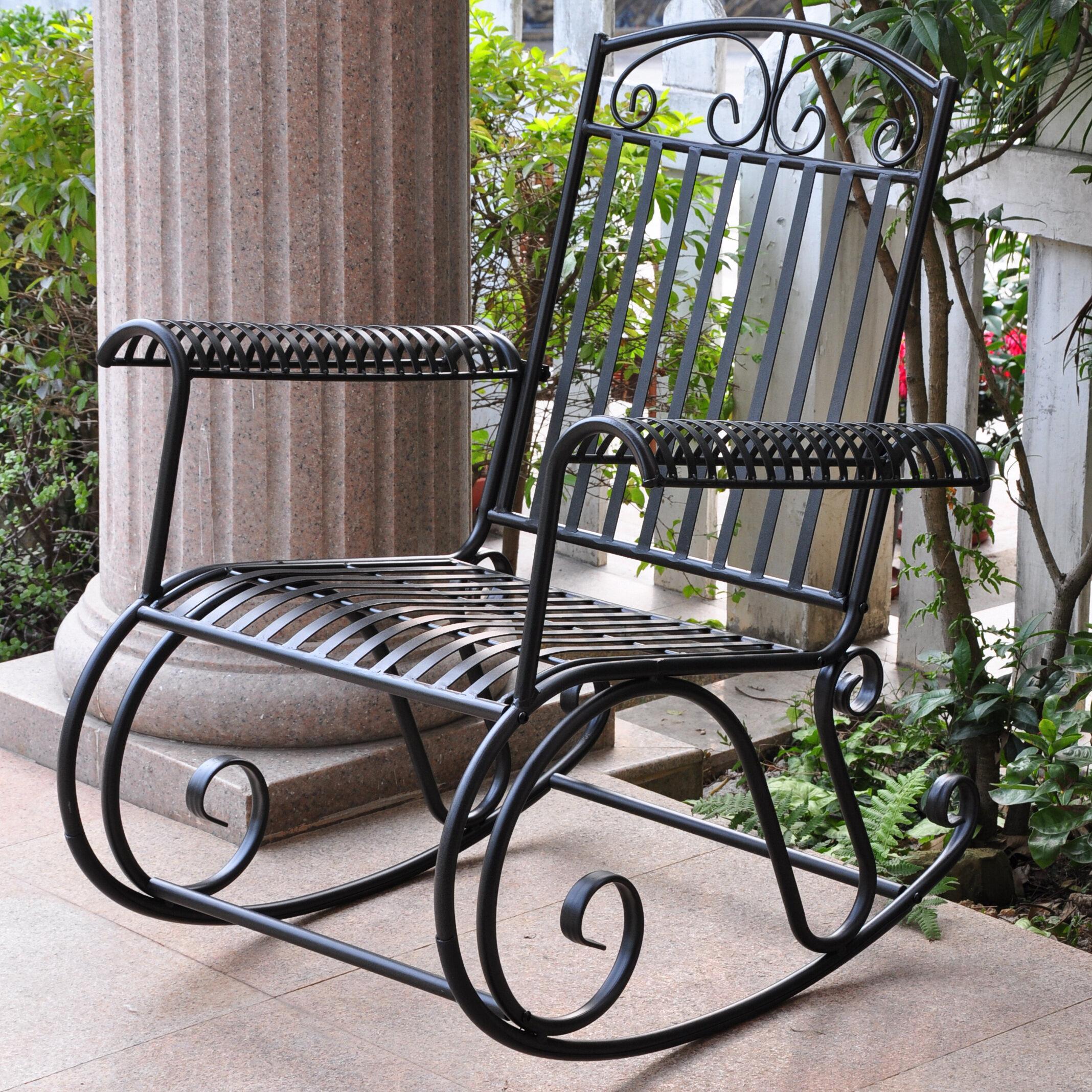 Three Posts Snowberry Iron Outdoor Porch Rocking Chair U0026 Reviews | Wayfair