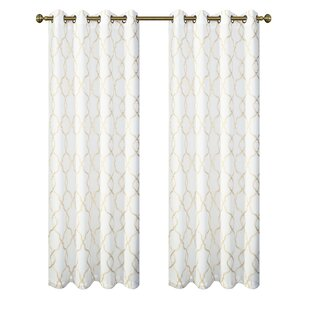 Brigit Embroidered Geometric Designed Top Window With Satin Backing Liner Semi Sheer Thermal Grommet Curtain Panels Set Of 2