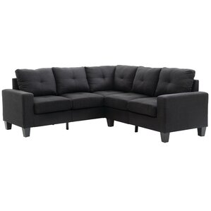 sc 1 st  Wayfair : leather sectional black - Sectionals, Sofas & Couches