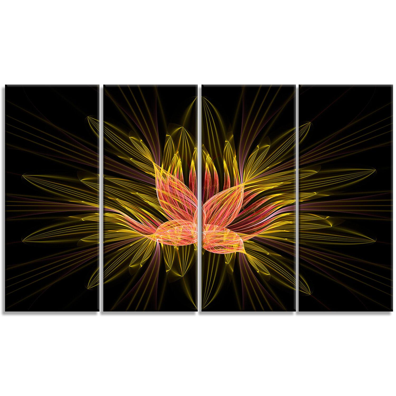 Designart Yellow Red Fractal Flower In Dark 4 Piece Graphic Art On Wrapped Canvas Set Wayfair