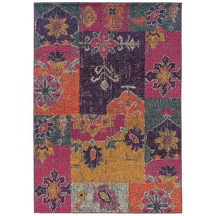 Terrell Floral Ikat Multi/Pink Area Rug by Bungalow Rose