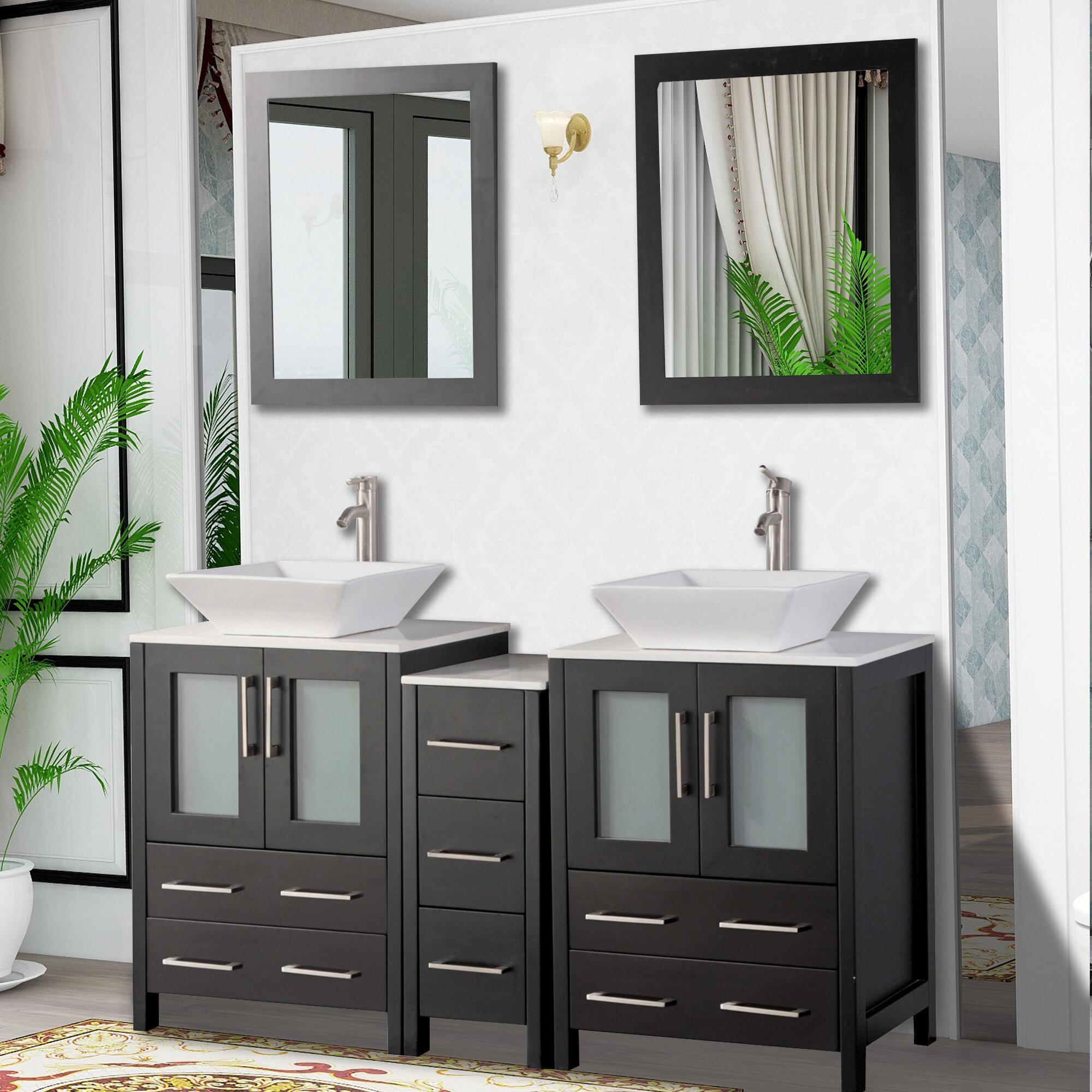 Brayden Studio Mehara 60 Double Bathroom Vanity Set With Mirror Reviews Wayfair