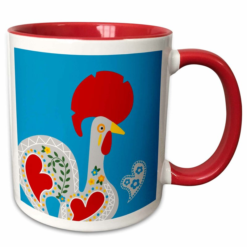 Symple Stuff Goodlett Portuguese Rooster On Background And Heart Coffee Mug Wayfair