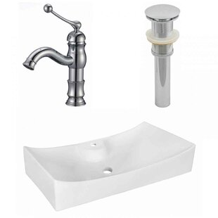 Reviews Above Counter Ceramic Rectangular Vessel Bathroom Sink with Faucet ByRoyal Purple Bath Kitchen