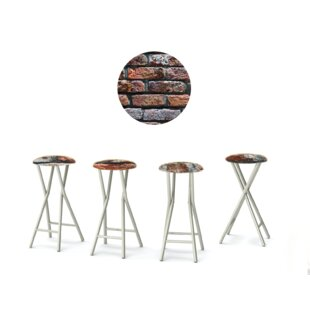 London Brick 30'' Patio Bar Stool with Cushion (Set of 4)