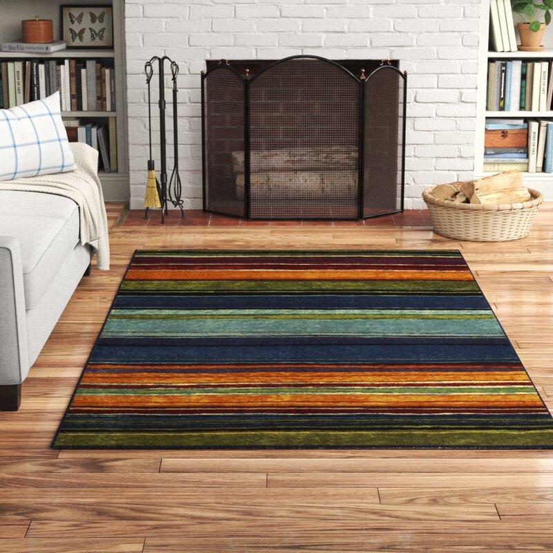 Andover Mills Santamarina Striped Tufted Blue Orange Green Area Rug Reviews Wayfair