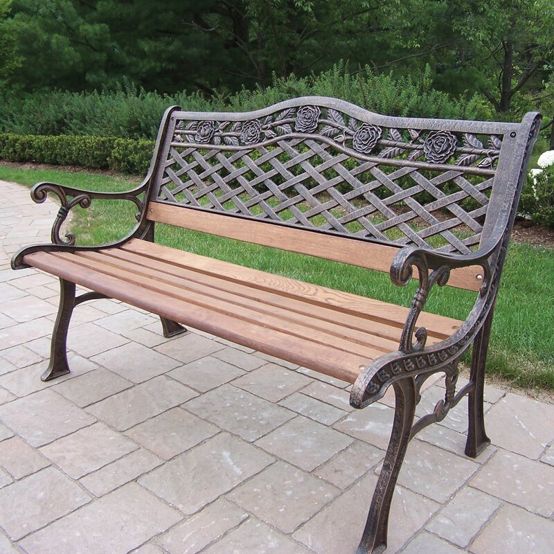 Nice Tea Rose Wood And Cast Iron Park Bench