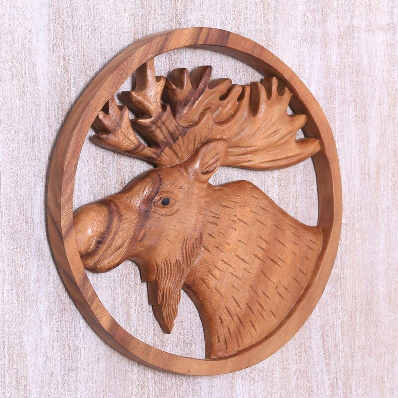 Moose Portrait Wood Relief Panel