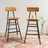 Carly Solid Wood 28 Bar Stool (Set of 2) by Foundstone™