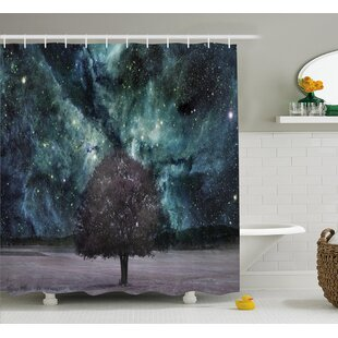 Myra Outer Space Nebula Galaxy Stars Mars Jupiter With a Tree on a Planet Print Single Shower Curtain
