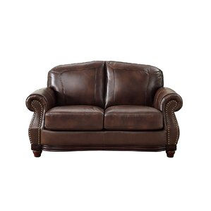 Mendenhall Leather Loveseat by Three Posts